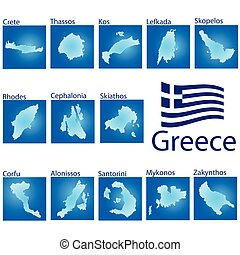 island map on Greece vector illustration on blue background
