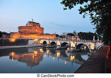 Sant Angelo in Rome, Italy - Saint Angelo castle and bridge...