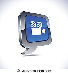 Cinema 3d balloon button - Cinema metallic 3d vibrant...