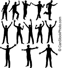 Male silhouettes. [Vector]. - Black male silhouettes. Vector...