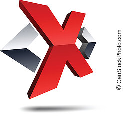 "X 3d letter. - .Illustration of ""X"" 3d design element."