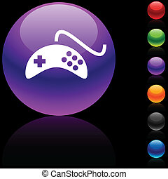Gamepad icon - Gamepad glossy icon Vector illustration
