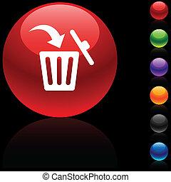 Delete  icon. - Delete  glossy icon. Vector illustration. .