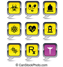 Medical balloon icons - Medical set of square balloon icons...