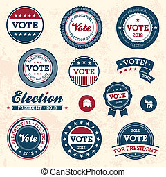 Vintage election badges - Set of vintage retro 2012 election...
