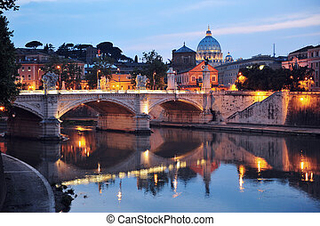 Night View of Rome, Italy - Sant Angelo Bridge and Basilica...