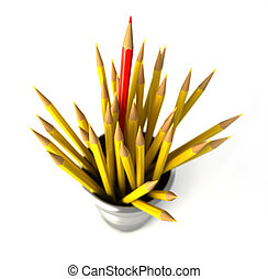 Group of many yellow pencils into a bin, with one red pencil...