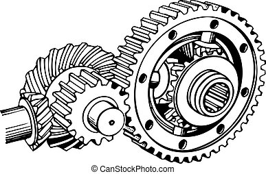 Cog stack on white background
