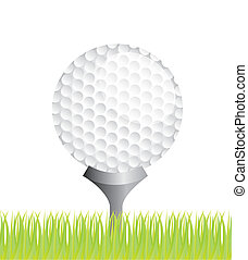 golf vector - golf ball over grass background. vector...