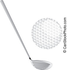 golf set vector - golf club and golf ball isolated over...