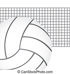 volleyball vector - volleyball ball with net over white...