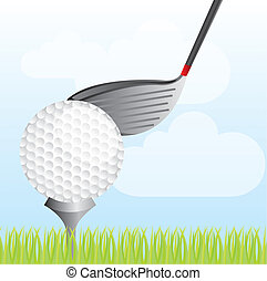 golf vector - golf ball with golf club over grass vector...