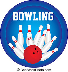 bowling pin with bowling ball over blue circle background...