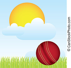 cricket vector - cricket ball over landscape with grass and...