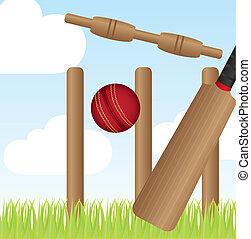 cricket set over landscape with grass vector illustration