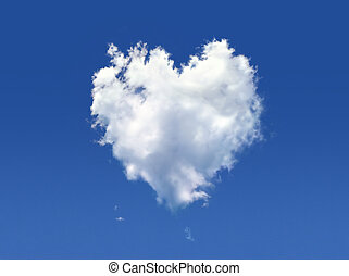 Fluffy cloud of the shape of heart, on a deep blue sky.