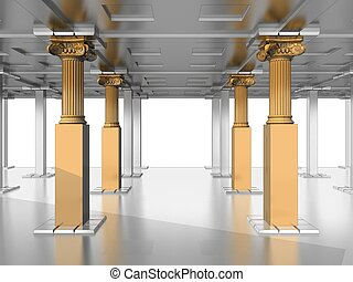 olden Antique Pillars In The Hall Of Silver
