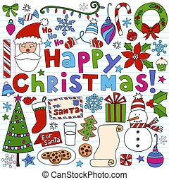 Christmas Notebook Doodle Vectors - Christmas Holiday...