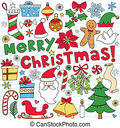 Christmas Doodle Vector Set - Merry Christmas Holiday...