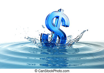 us dollar sign falling into water with splash