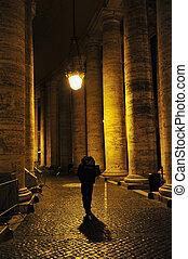 Man Walking Alone in Rome, Italy - Man Walking Alone,...