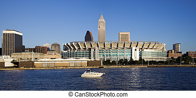 Cleveland from Lake Erie - Downtonw of Cleveland, Ohio seen...