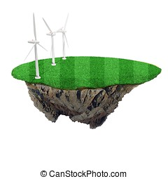 3d small island with green grass and windmills on white...