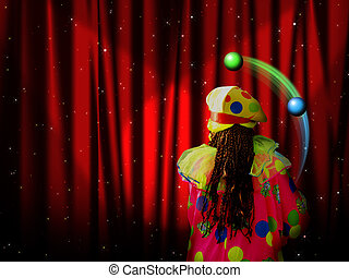 red curtain with clown - Red curtain of stage with stars and...