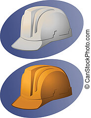 Hard Hat Illustration - Illustration of 1 white and 1 yellow...