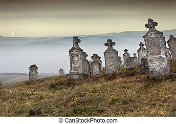 Everlasting - Old group of tombstones ruin on the hill,...