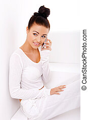 Beautiful Natural Woman On Mobile Phone