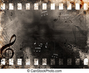 Grunge music notes - Grunge old film strip background with...