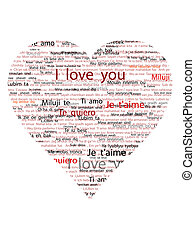 big heart with the written I love you in some languages on a...