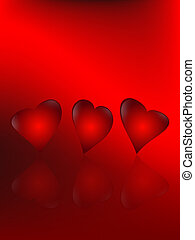 animated hearts - three animated hearts on a red background