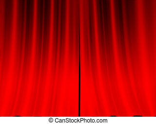 Red curtain of stage background