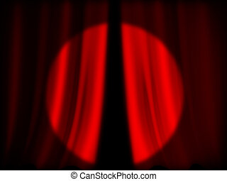Illuminated red curtain of theater background - close-up of...