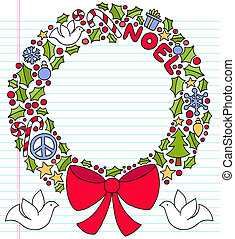 Christmas Wreath Notebook Doodles - Christmas Holly Wreath...