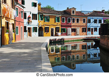 Colorful Burano, Italy - Colourfully painted houses on...