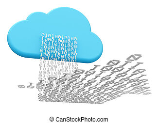 cloud computing and downloading - 3D rendering of a cloud...