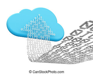 cloud computing and uploading - 3D rendering of a cloud...