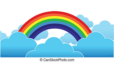 clouds with a rainbow on blue background illustration design