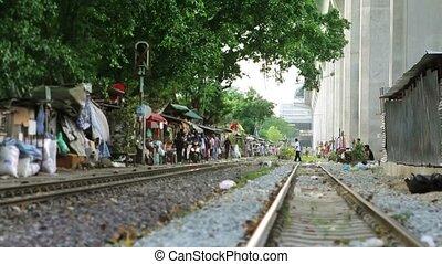 Railroad Slums - slums by railway in bangkok