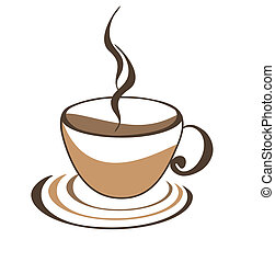 Icon of cup of coffee on white background