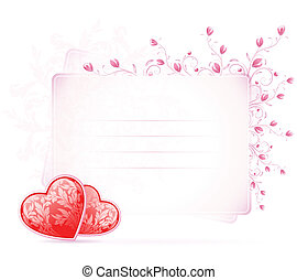 Valentines Day Card with flowers on white background