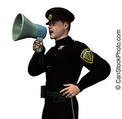 Policeman with Megaphone - 3D render.