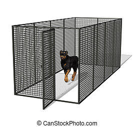 Dog Kennel - Rottweiler dog in kennel - 3D render