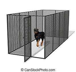 Dog Kennel - Rottweiler dog in kennel - 3D render