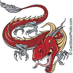 Red Dragon Vector Illustration Art