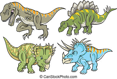 恐龍, 矢量, 插圖, 集合