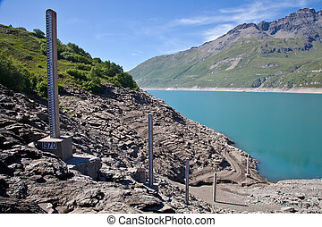 Dam water level measurement - Moncenisio dam, Italy/France...